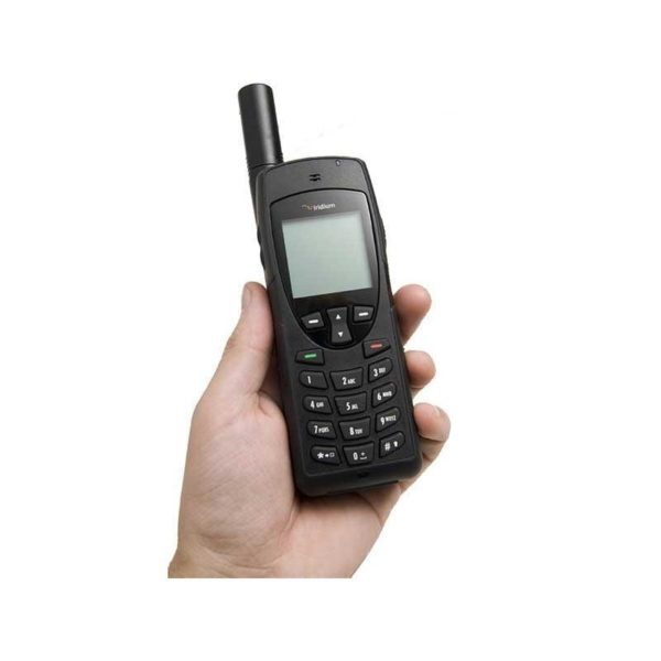 Iridium satellite phone held in a hand