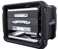 a secured rack case with rugged exterior and mounted equipment to prevent damage while traveling