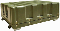 a closed flyaway case, showing the ruggedized exterior that prevents damage in harsh terrain