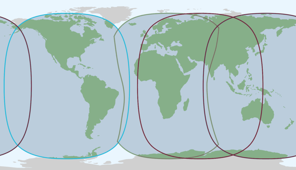 Inmarsat satellite coverage map showing near global coverage, with signal coverage available worldwide except for the North and South Poles.