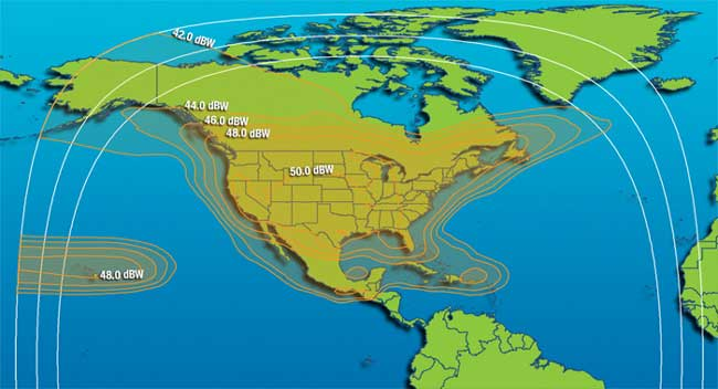 iDirect Ku band satellite coverage map- throughout United States, Canada, Mexico, and the Caribbean