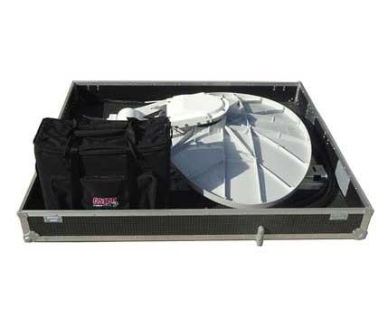 Stowed FLDataSat 845 flyaway satellite dish