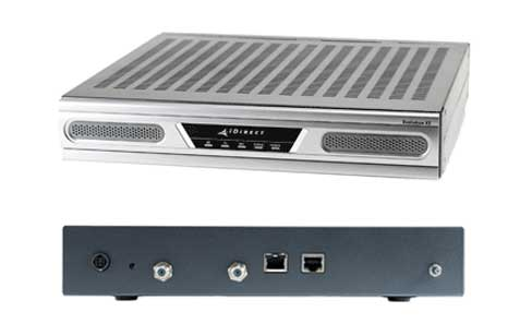 iDirect side and top view of satellite internet modem