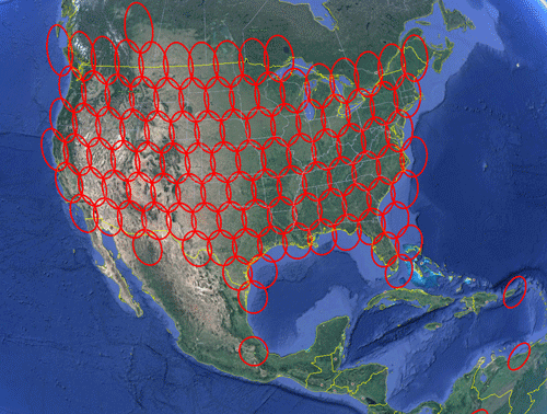 ViaSat coverage map showing coverage throughout USA, parts of Southern Canada, and parts of Northern Mexico and Mexico City. Some coverage in the Caribbean.