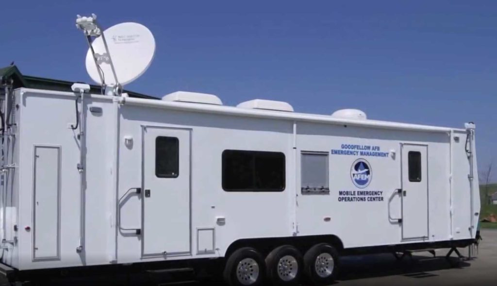 Emergency management trailer with satellite dish