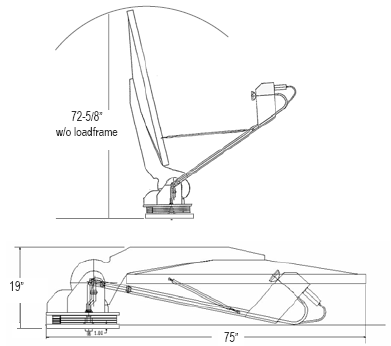 Diagram showing mvs1200 deployed versus stowed, total stowed size 19 inches high by 75 inches wide.