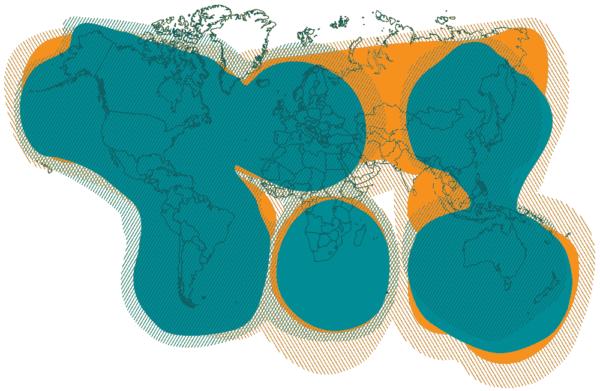 Spot X service map, near global coverage