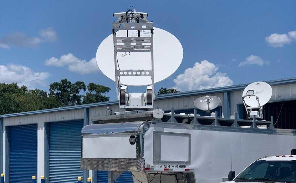 Multiple AVL mobile satellite antennas deployed