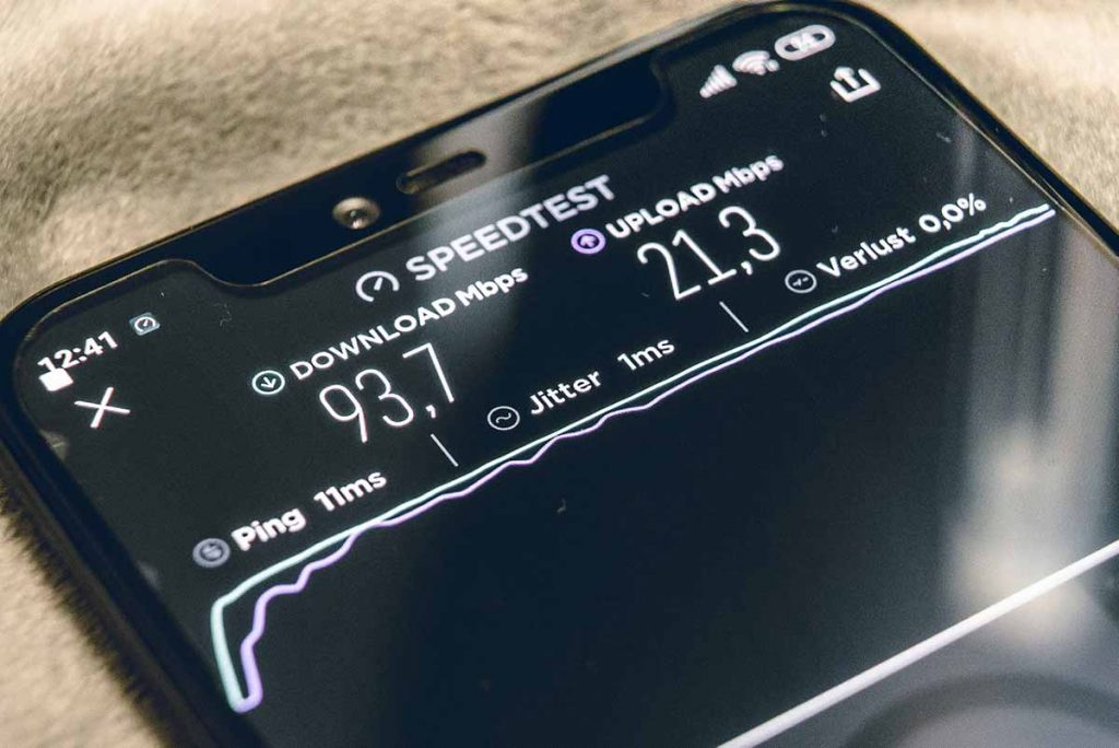 speed test being conducted on a cell phone