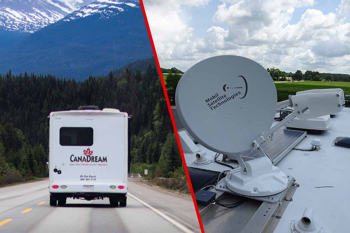 Split image with an RV on the left and a mobile satellite antenna on the right